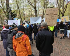 At the start of Seattle's Climate March, April 29, 2017, at Occidental Park