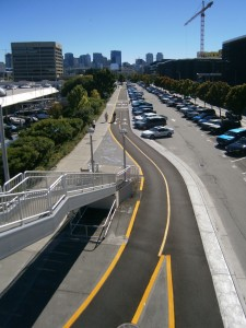 The new Westlake Bike Path, looking south from the Galer Street pedestrian bridge.